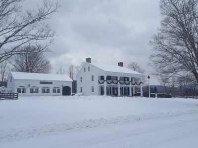 Bump Tavern originally served guests in the Catskills. Snowy scenes like this one would be typical of that region.
