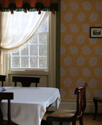 In a time when paint was expensive the people of the 1840s wallpapered the interior of their homes.