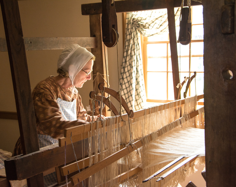 Weaver at work at Lippitt Farmhouse
